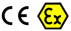 CE marking and EX equipment marking.