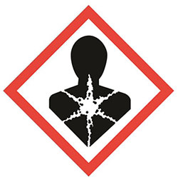 Hazard pictogram compliant with the CLP Regulation indicating that the substance may cause genetic defects.
