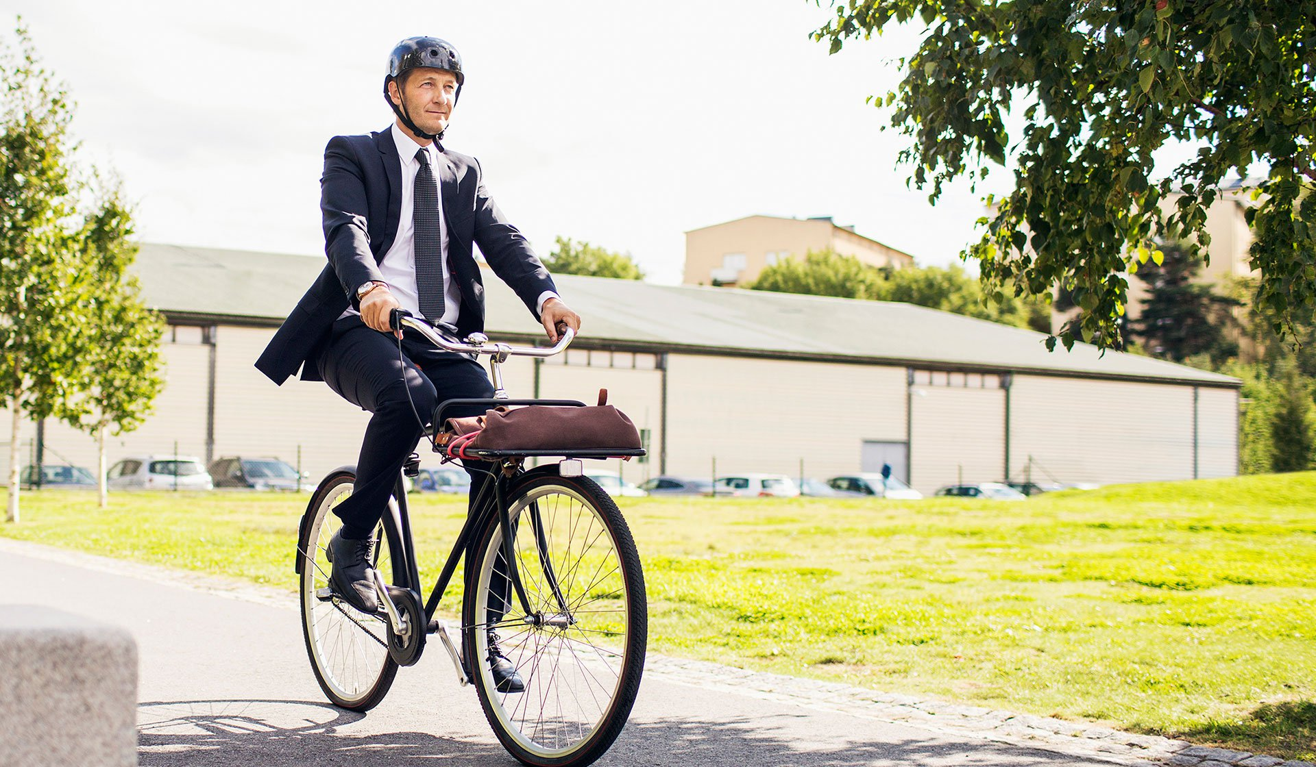 A man cycling to work